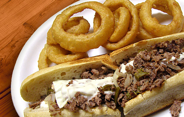 Hot Steak & Cheese w/ Crispy Onion Rings